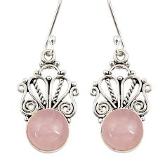 9.56cts natural pink rose quartz 925 sterling silver dangle earrings d34885