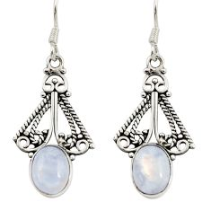 Clearance Sale- 4.43cts natural rainbow moonstone 925 sterling silver dangle earrings d34888