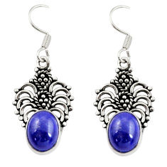 Clearance Sale- 4.90cts natural blue lapis lazuli 925 sterling silver dangle earrings d34890