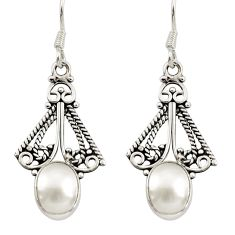Clearance Sale- 6.04cts natural white pearl 925 sterling silver dangle earrings jewelry d34891