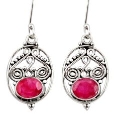 Clearance Sale- 4.42cts natural red ruby 925 sterling silver dangle earrings jewelry d34895