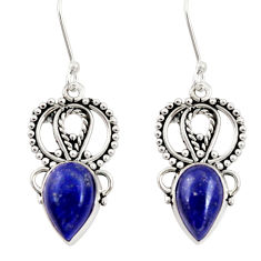 Clearance Sale- 925 sterling silver 6.04cts natural blue lapis lazuli dangle earrings d34896