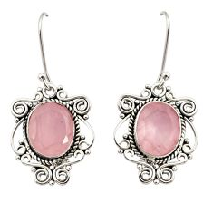 9.03cts natural pink rose quartz 925 sterling silver dangle earrings d34897