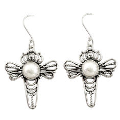 Clearance Sale- 5.54cts natural white pearl 925 sterling silver dragonfly earrings d34903