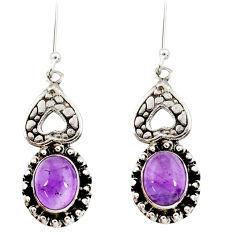 6.31cts natural purple amethyst 925 sterling silver dangle earrings d34909