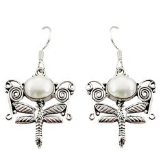 Clearance Sale- 6.26cts natural white pearl 925 sterling silver dragonfly earrings d34913