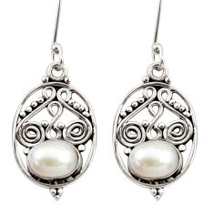 Clearance Sale- 4.26cts natural white pearl 925 sterling silver dangle earrings jewelry d34914