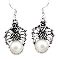 Clearance Sale- 925 sterling silver 6.51cts natural white pearl dangle earrings jewelry d34915