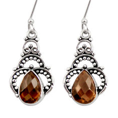 Clearance Sale- 5.54cts brown smoky topaz 925 sterling silver dangle earrings jewelry d34917