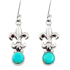 1.94cts blue arizona mohave turquoise 925 sterling silver dangle earrings d34929
