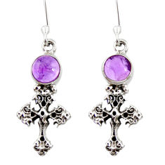 Clearance Sale- 925 sterling silver 2.01cts natural purple amethyst holy cross earrings d34935