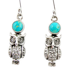 2.62cts blue arizona mohave turquoise 925 sterling silver owl earrings d34939