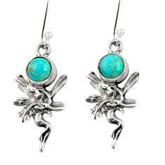 Clearance Sale- 1.73cts blue arizona mohave turquoise silver angel wings fairy earrings d34942