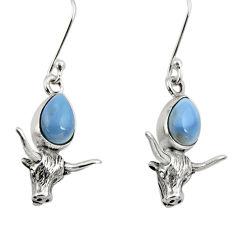 Clearance Sale- 925 silver 5.30cts bull charm natural blue owyhee opal dangle earrings d34948