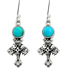 Clearance Sale- 1.61cts blue arizona mohave turquoise 925 silver holy cross earrings d34954