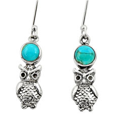 Clearance Sale- 1.84cts blue arizona mohave turquoise 925 sterling silver owl earrings d34957