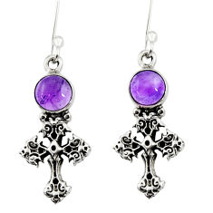 Clearance Sale- 1.91cts natural purple amethyst 925 sterling silver holy cross earrings d34962
