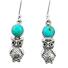 925 sterling silver 1.84cts blue arizona mohave turquoise owl earrings d34964