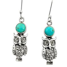 2.19cts blue arizona mohave turquoise 925 sterling silver owl earrings d34966
