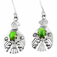 Clearance Sale- 3.13cts green copper turquoise 925 sterling silver birds charm earrings d34968