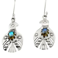 Clearance Sale- 925 silver 3.28cts natural blue labradorite dangle birds charm earrings d34970