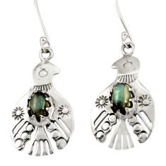 Clearance Sale- 2.98cts natural blue labradorite 925 sterling silver birds charm earrings d34971