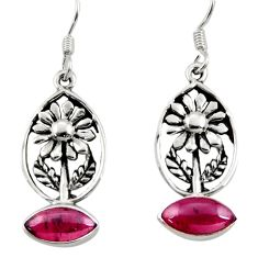 4.52cts natural red garnet 925 sterling silver flower earrings jewelry d34974