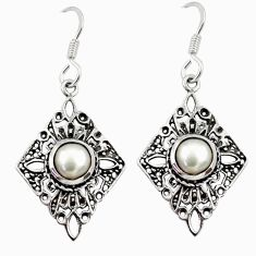 Clearance Sale- 1.94cts natural white pearl 925 sterling silver dangle earrings jewelry d34982
