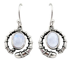 Clearance Sale- 925 sterling silver 4.67cts natural rainbow moonstone dangle earrings d34984