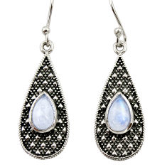 Clearance Sale- 925 sterling silver 3.40cts natural rainbow moonstone dangle earrings d34987