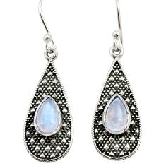 3.23cts natural rainbow moonstone 925 sterling silver dangle earrings d34988