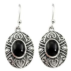 4.02cts natural black onyx 925 sterling silver dangle earrings jewelry d34990