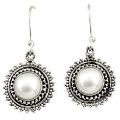 Clearance Sale- 7.51cts natural white pearl 925 sterling silver dangle earrings jewelry d35001