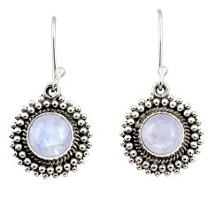 Clearance Sale- 6.84cts natural rainbow moonstone 925 sterling silver dangle earrings d35002