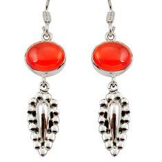 Clearance Sale- 8.42cts natural orange cornelian (carnelian) 925 silver dangle earrings d35006