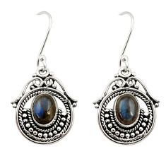 Clearance Sale- 4.46cts natural blue labradorite 925 sterling silver dangle earrings d35008