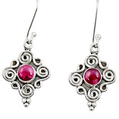 Clearance Sale- 1.21cts natural red garnet 925 sterling silver dangle earrings jewelry d35024