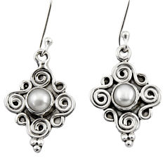1.21cts natural white pearl 925 sterling silver dangle earrings jewelry d35027
