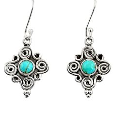 1.17cts green arizona mohave turquoise 925 silver dangle earrings d35028