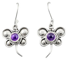 Clearance Sale- 1.81cts natural purple amethyst 925 sterling silver butterfly earrings d35041