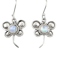 Clearance Sale- 1.81cts natural rainbow moonstone 925 sterling silver butterfly earrings d35055