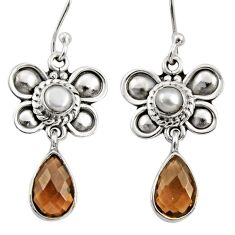 Clearance Sale- 5.38cts brown smoky topaz pearl 925 sterling silver butterfly earrings d35059
