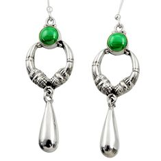 2.44cts natural green malachite (pilot's stone) 925 silver earrings d35063
