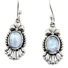 Clearance Sale- 4.33cts natural rainbow moonstone 925 sterling silver earrings jewelry d35067