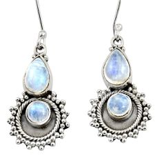 Clearance Sale- 5.09cts natural rainbow moonstone 925 sterling silver earrings jewelry d35068