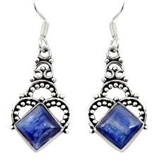 Clearance Sale- 6.82cts natural blue kyanite 925 sterling silver dangle earrings jewelry d35091