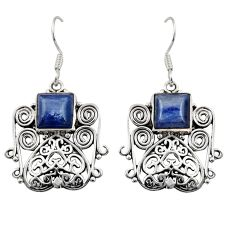 Clearance Sale- 7.10cts natural blue kyanite 925 sterling silver dangle earrings jewelry d35093