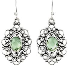 4.51cts natural green amethyst 925 sterling silver earrings jewelry d35108