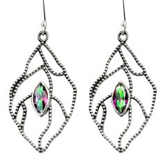 Clearance Sale- 925 sterling silver 5.05cts multi color rainbow topaz earrings jewelry d35116