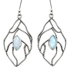Clearance Sale- 5.11cts natural rainbow moonstone 925 sterling silver earrings jewelry d35117